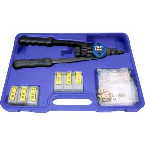 """13"""" Nut/Thread Setting Hand Riveter Kit with 3pc Metric and 3pc SAE Mandrel/Nosepiece Sets and Rivet Nut Assortment-0"""