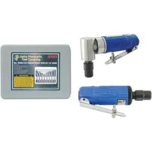 """Blue Composite Body 1/4"""" 90° Angle Die Grinder Front Exhaust - 20,000rpm,Composite Body 1/4"""" Mini Die Grinder with Safety Lever - 25,000rpm AND 8pc. Double Cut Carbide Rotary Burr Set 1/4"""" Shank in Blow Molded Case-0"""