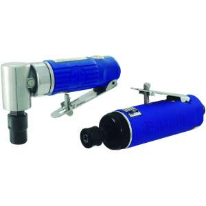 """Blue Composite Body 1/4"""" 90° Angle Die Grinder AND Blue Composite Body 1/4"""" Medium Die Grinder Rear Exhaust w/ Safety Lever - 22,000rpm-0"""