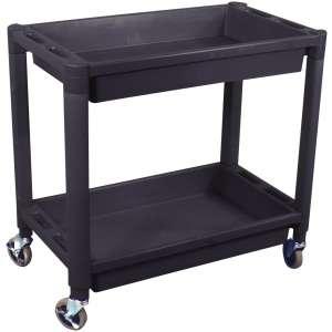 Heavy Duty Plastic 2 Shelf Utility Cart - Black Color-0
